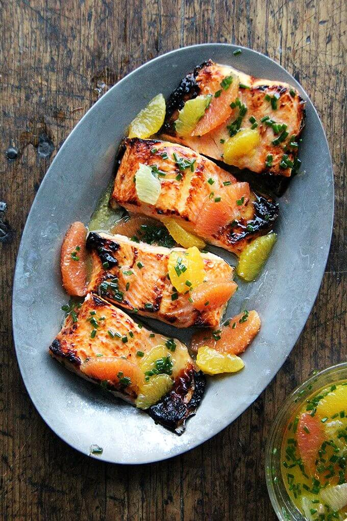 Arctic Char is mild and delicious. It's thin, so it cooks quickly. The sauce in this broiled lemon-honey arctic char is also a nice mix of citrus. I love using Cara Cara oranges for their sweet flavor and pretty hue.  // alexandracooks.com