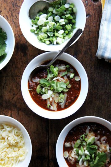 This super bowl menu includes weeknight chili which is my favorite, pared-down chili recipe. It comes together in about an hour and gets better by the day, so don't be afraid to make it ahead of time. // alexandracooks.com
