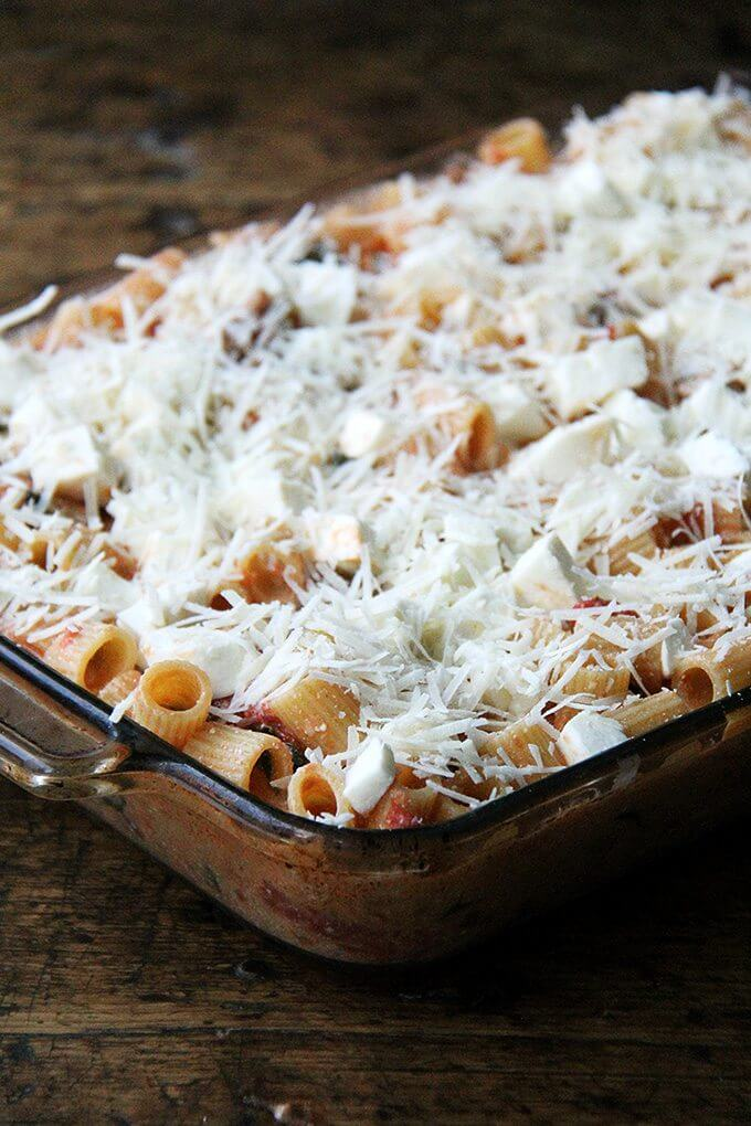 Baked ziti, this one in particular, is so great for feeding a crowd. It's one of those miracle dishes that materializes seemingly from nothing, a particularly good one to know this time of year, when fresh inspiration can be lacking. // alexandracooks.com