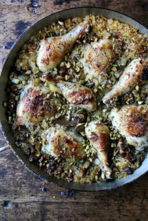 Moroccan Chicken and Rice with Dates, Harissa & Pistachios
