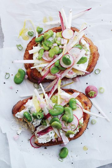 You will relish this endive and fava tartine—ricotta, pea shoots, radishes, and herbs—each spring-filled bite assuring you that you can endure a few more weeks of winter. This is the tartine to make when you've had your fill of comfort foods—of soups and stews and roasts and braises—and you long for something fresh and bright. // alexandracooks.com