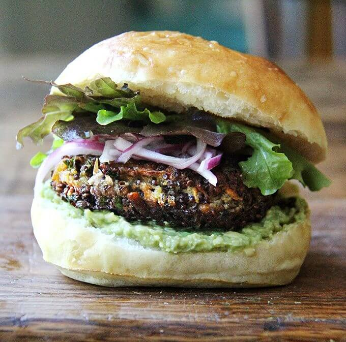 I find these msuhroom quinoa burgers as deliciousfreshly crispedon homemade hamburger buns as cold straight from the fridge whenever I'm needing a little snack—they are irresistible. // alexandracooks.com