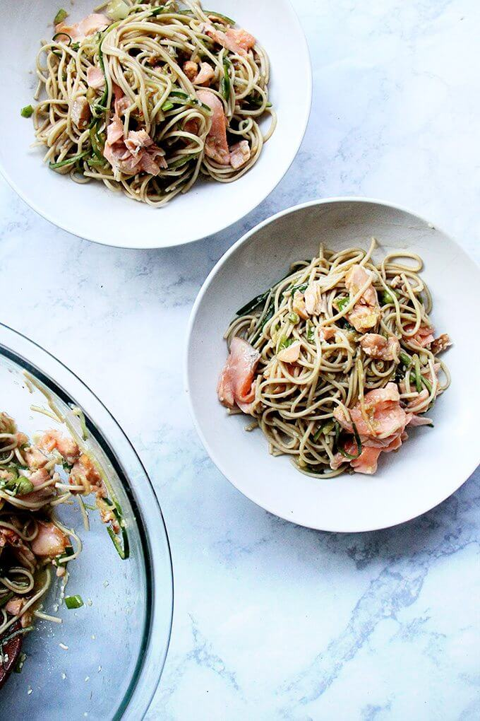 One sauce, two roles—a revelation! With dinner prep (and clean up) decreased by half, this recipe for ginger-sesame soba noodles with cedar plank salmon slips into weeknight-friendly territory, requiring about 30 minutes of work. // alexandracooks.com
